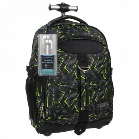 Plecak na kółkach dla chłopaka szary z zielonym BackUP K 31 - SŁUCHAWKI gratis