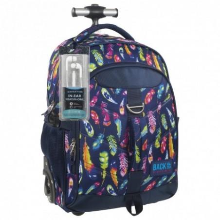 Plecak na kółkach kolorowe pióra BackUP K 24 - SŁUCHAWKI gratis