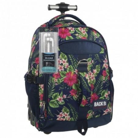 Plecak na kółkach tropikalny hibiskus BackUP K 12 - SŁUCHAWKI gratis
