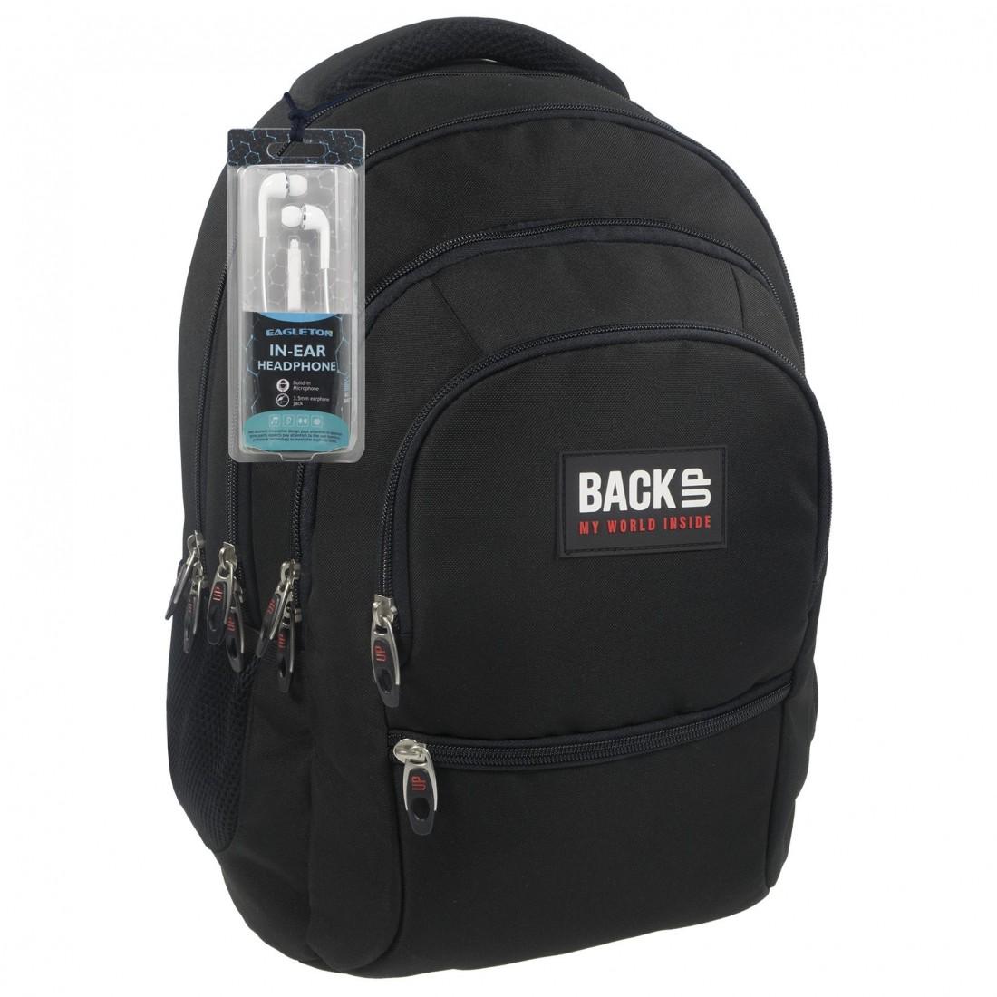 974b362dbc6cb Czarny plecak dla chłopaka + słuchawki BackUP C 27 do szkoły ...
