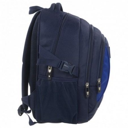 f774efba4cdf5 Plecak szkolny dla chłopaka w starszych klasach - 3 pojemne przegrody i  minimalistyczny wygląd. Gładki plecak w kolorze granatowym z niebieskimi  elementami.