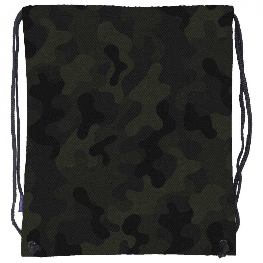 28801a3f53ad4 Worek dla chłopaka na buty i strój na lekcje WF w barwach militarnych -  moro. Świetny plecak na sznurkach na spacery lub przejażdżki rowerowe.
