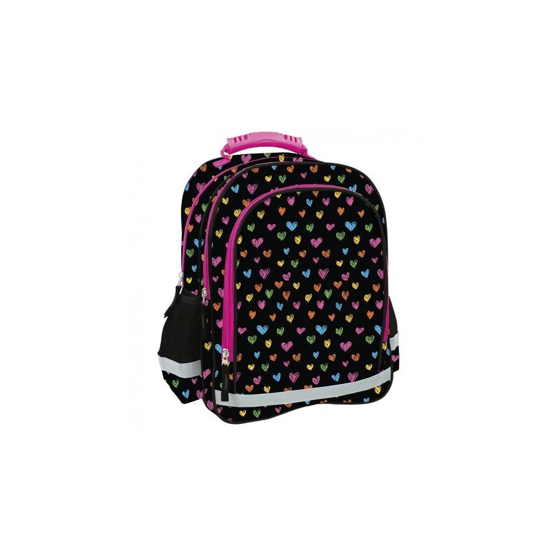 3c36d488eb9db Posiada 3 praktyczne przegrody oraz słodki wzór w kolorowe serduszka na  czarnym tle. czarny plecak