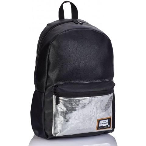 Plecak z eko skóry damski miejski HEAD Fashion czarny ze srebrnym HD-353