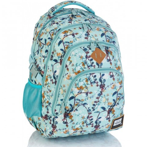 Plecak szkolny HEAD błękitny w drobne listki HD-247 A