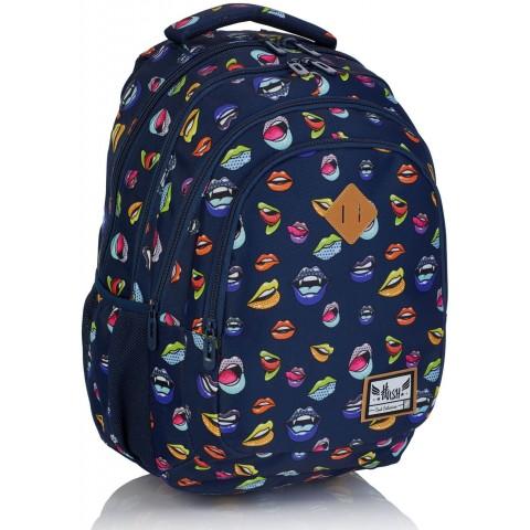 Plecak szkolny HASH w kolorowe usta HS-169 C