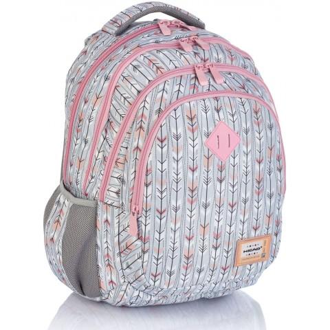 Plecak szkolny HEAD szaro-różowy w strzałki HD-286 C