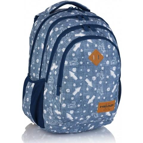 Plecak szkolny HEAD jeansowy w białe strzałki HD-345 C