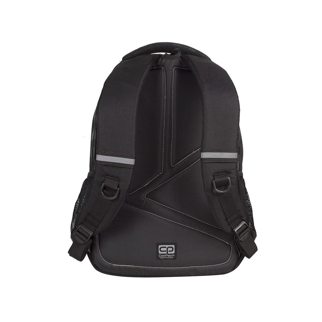 Plecak młodzieżowy Coolpack CP lekki czarny w kratkę + żółte wstawki BASIC BLACK & YELLOW 414 - plecak-tornister.pl