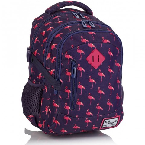Plecak pierwszoklasisty HASH fioletowy w różowe flamingi HS-87