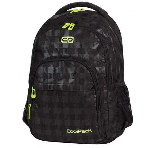 Plecak młodzieżowy Coolpack CP lekki czarny w kratkę + żółte wstawki BASIC BLACK & YELLOW 414