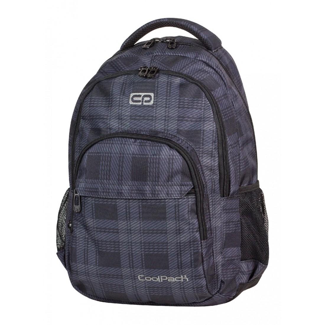 Plecak młodzieżowy CoolPack CP lekki czarno - szary w kratkę BASIC DERBY 368 - plecak-tornister.pl