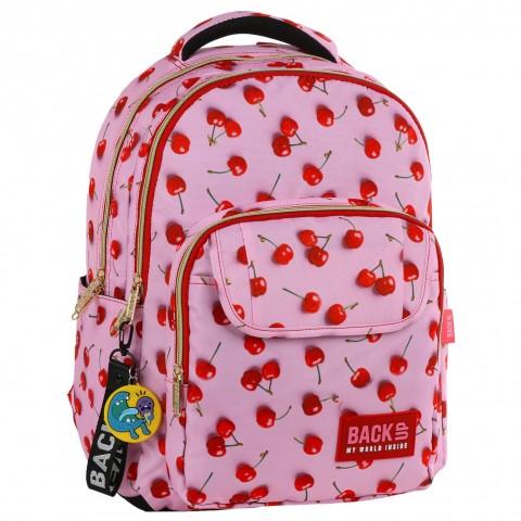 Plecak młodzieżowy BackUP różowy w WIŚNIE ZŁOTE ZAMKI L31 + GRATIS