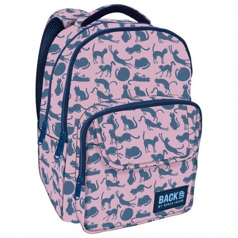 Plecak młodzieżowy BackUP różowy w niebieskie KOTY L18 + GRATIS
