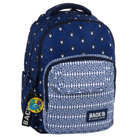Plecak młodzieżowy BackUP granatowy boho w sówki SOWY L13 + GRATIS