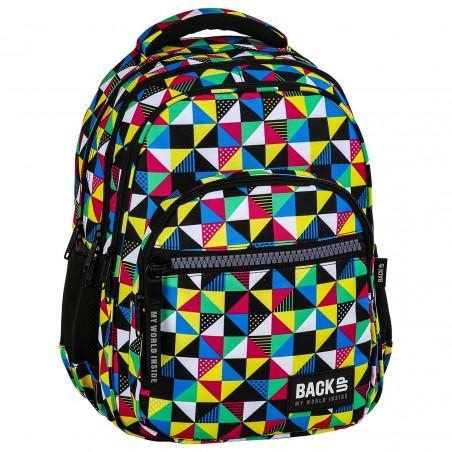 Plecak młodzieżowy BackUP w kolorowe małe trójkąty KALEJDOSKOP M34