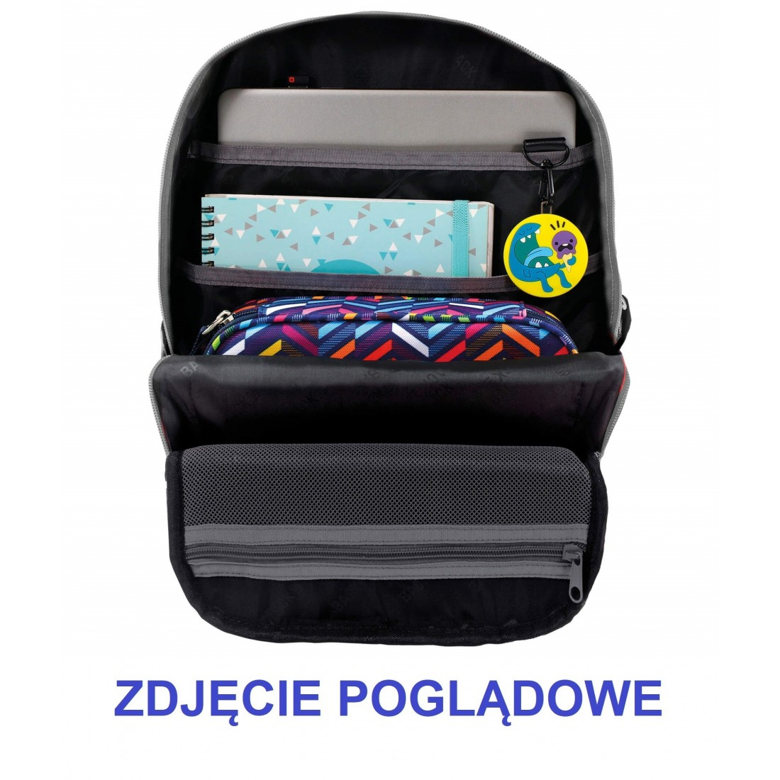 Plecak szkolny dla nastolatki BackUP w kolorowe trójkąty Kalejdoskop - plecak-tornister.pl