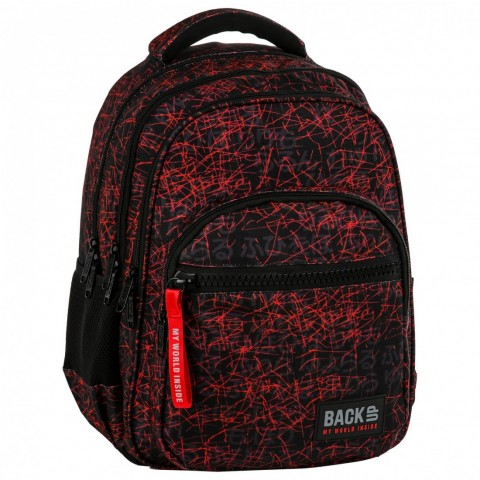 Plecak młodzieżowy BackUP lawa czerwone kreski dla chłopca JAPOŃSKIE NAPISY M47