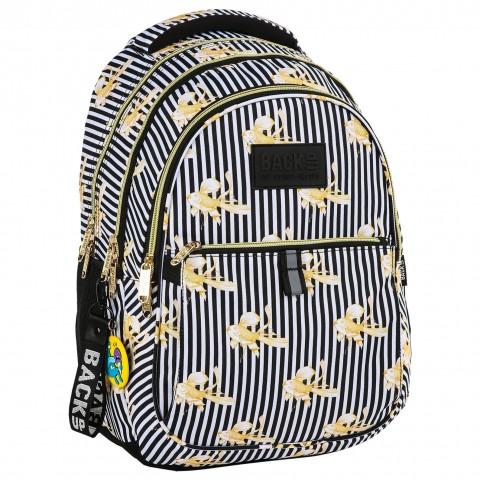 Plecak młodzieżowy BackUP czarno-białe paski ZŁOTE RYBKI N16 + GRATIS