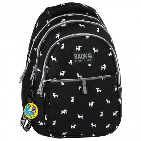 Plecak młodzieżowy BackUP czarny w białe pieski CHIHUAHUA N81 + GRATIS