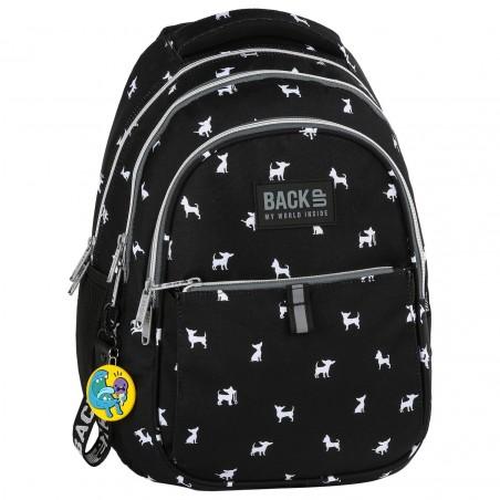 szukać tak tanio dostępność w Wielkiej Brytanii Plecak młodzieżowy BackUP czarny w białe pieski CHIHUAHUA N81 + GRATIS