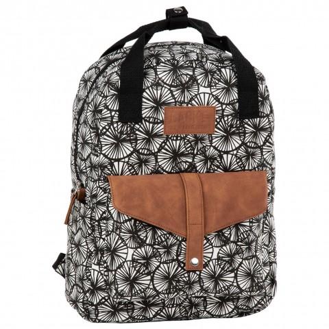 Plecak miejski vintage BackUP kremowa bawełna / eko skóra w czarne DMUCHAWCE CA55