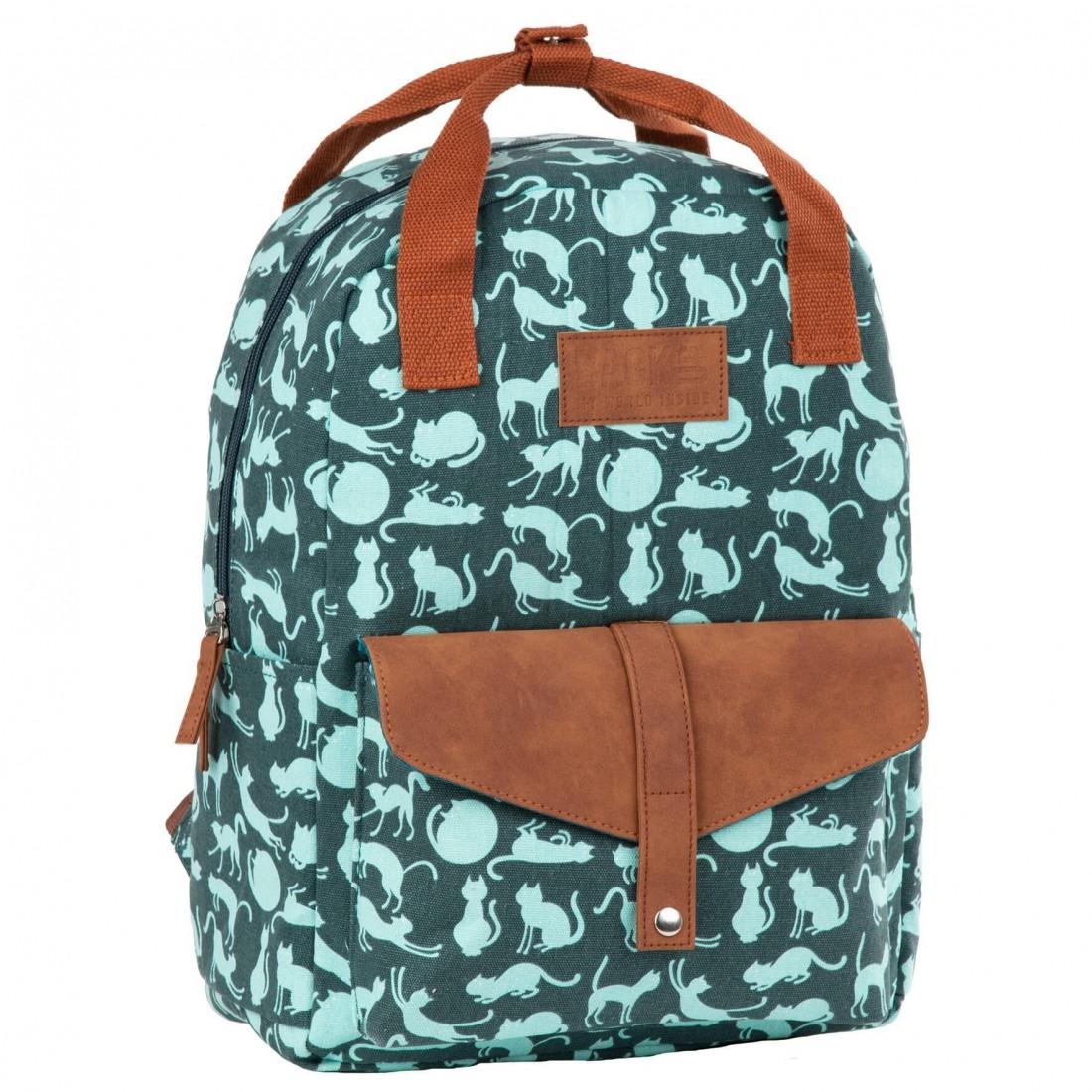 Plecak vintage dla dziewczyny BackUP zielony w miętowe koty - plecak-tornister.pl