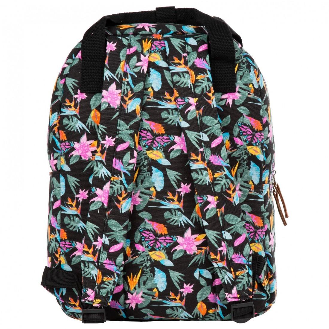 Plecak vintage dla dziewczyny BackUP czarny w tropikalne kwiaty CA36 - plecak-tornister.pl