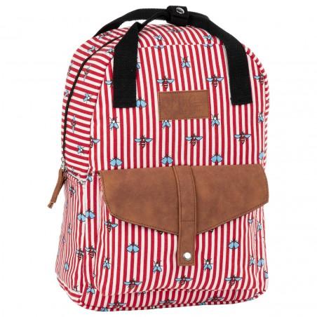 Plecak miejski vintage BackUP bawełna w czerwone paski MUCHY CA26