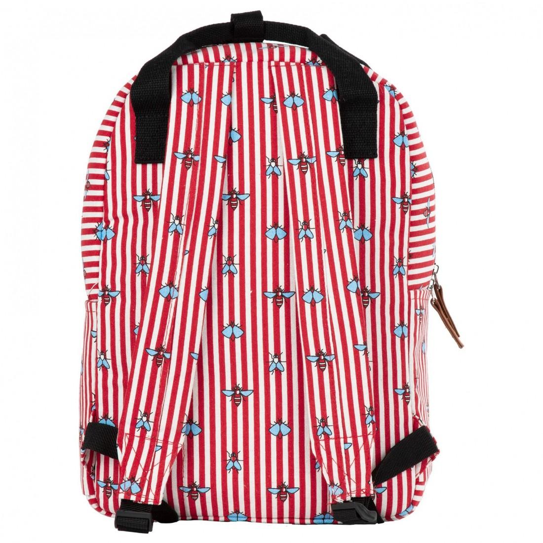 Plecak vintage dla dziewczyny BackUP w biało-czerwone paski i muchy - plecak-tornister.pl