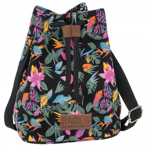Torebka / mini plecak 2w1 BackUP czarny Canvas w tropikalne kwiaty RAJSKI MOTYL A36