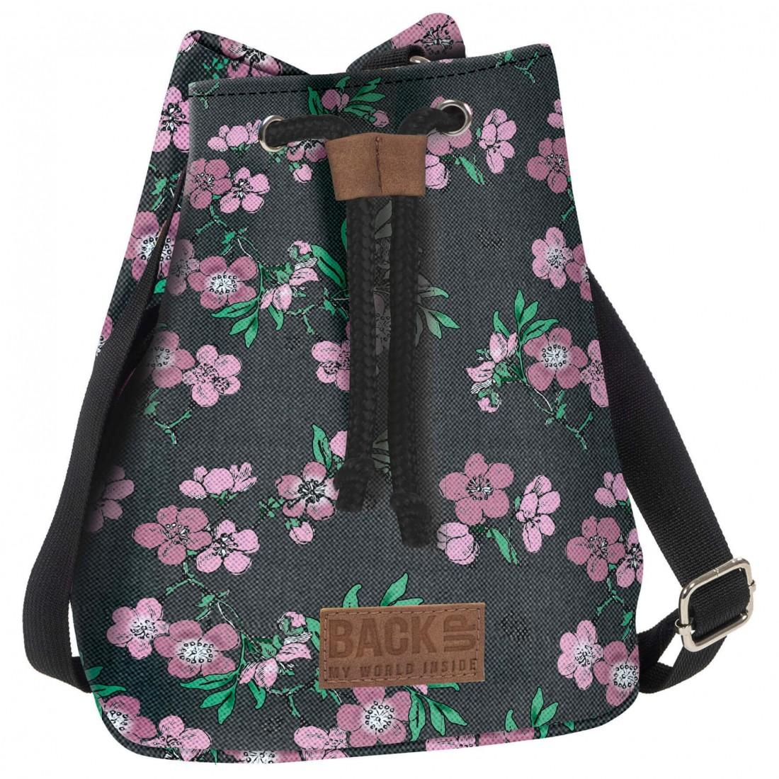 Plecak miejski dla nastolatki BackUP szary w pastelowe kwiaty Canvas - plecak-tornister.pl