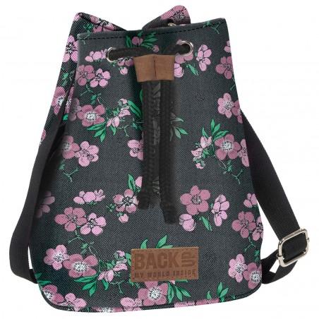 Torebka / mini plecak 2w1 BackUP szary w KWIATY Canvas A24