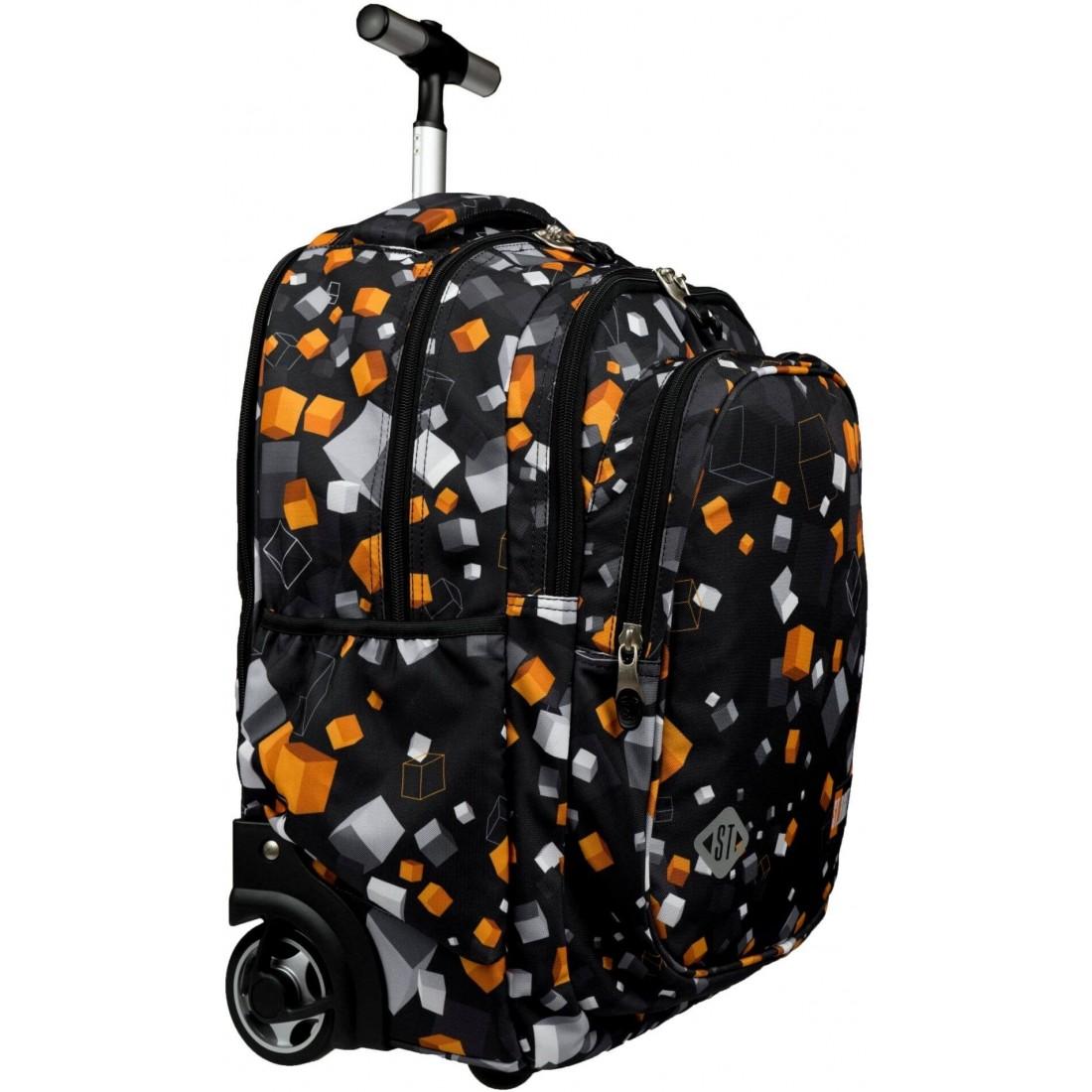 Plecak na kółkach do podstawówki ST.RIGHT CUBES TB01 czarny w kwadraty pixele B2S St.Majewski - plecak-tornister.pl