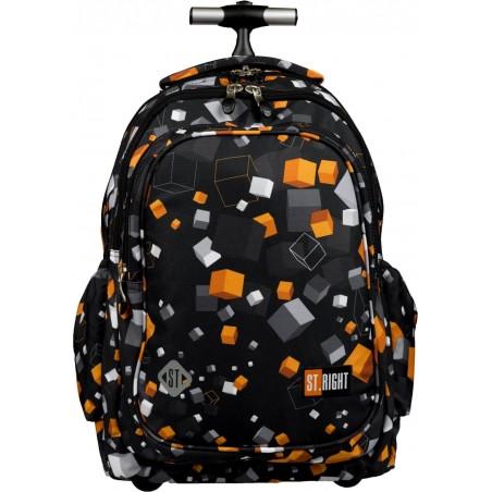 Plecak na kółkach dla ucznia szkoły podstawowej w pomarańczowo-szare kwadraty na czarnym tle