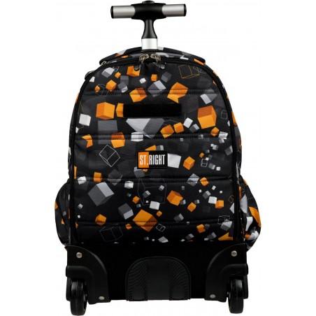 Plecak na kółkach TB01 CUBES wykonany z odpornego na przecieranie materiału w pomarańczowe i szare pixele