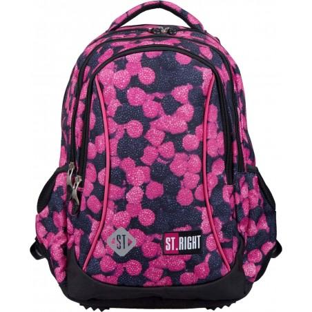e632f108336e3 Stylowy różowo-czarny plecak dla pierwszoklasisty ST.Right Berries ...