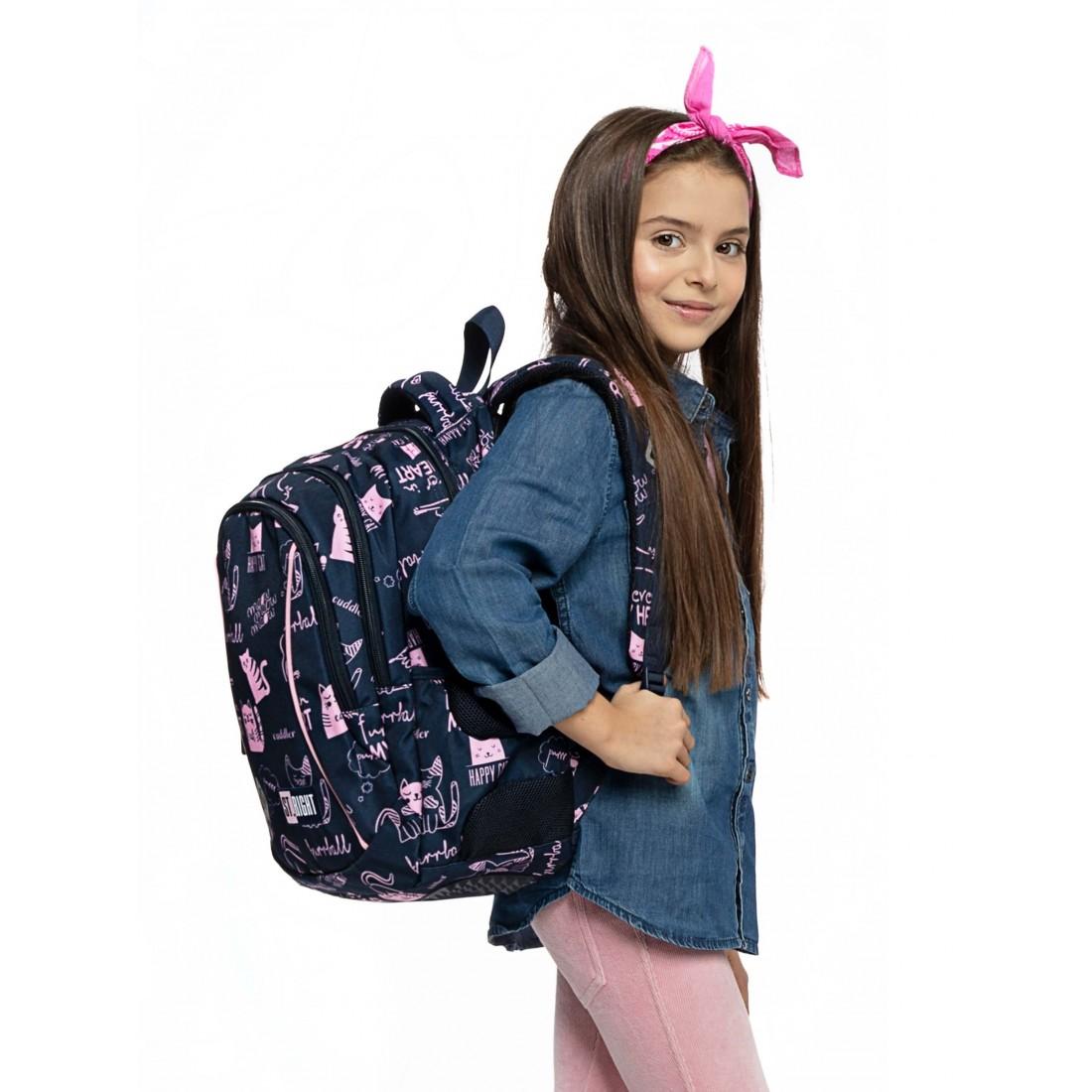 Plecak dla dziewczynki do pierwszej klasy ST.RIGHT Cats BP26 różowe kotki - plecak-tornister.pl