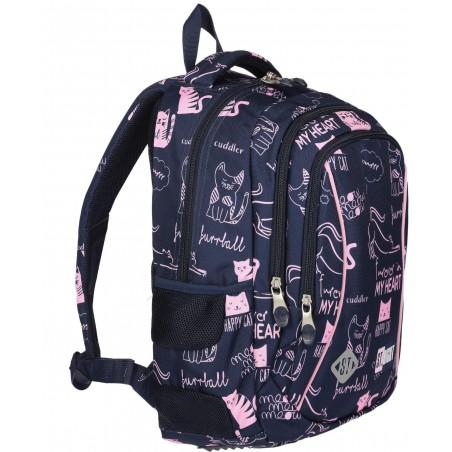 3-komorowy plecak szkolny do pierwszej klasy w dziewczęcy wzór kotków