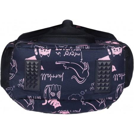 Plecak Cats ST.RIGHT BP26 w różowe koty na granatowym tle posiada specjalne wzmocnienia materiału od spodu