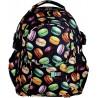 Plecak młodzieżowy Macarons BP01 w kolorowe makaroniki na czarnym tle