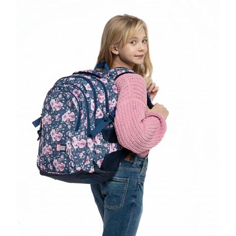 Plecak młodzieżowy ST.RIGHT ROSES jeansowy w róże BP01