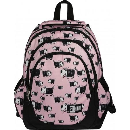 Plecak dla nastolatek ST.RIGHT Dogs BP06 różowy w czarno-białe pieski