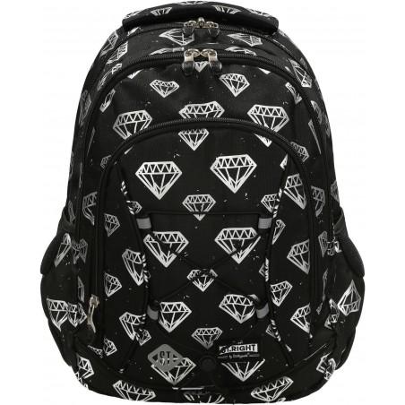 Plecak młodzieżowy DIAMONDS ST.Right BP32 to minimalistyczny wzór białych diamentów na czarnym tle