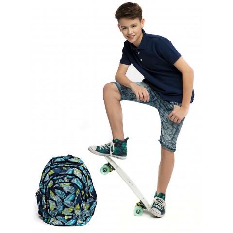 Plecak młodzieżowy ST.RIGHT TROPICAL LEAVES niebieski w liście BP02