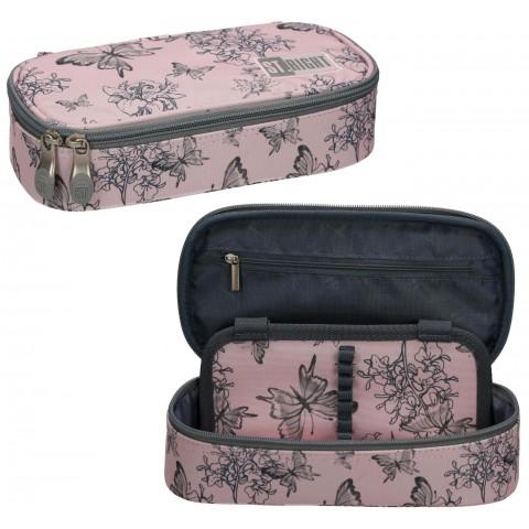 Piórnik szkolny etui XL z klapką ST.RIGHT VINTAGE BUTTERFLIES różowy w motyle PC02