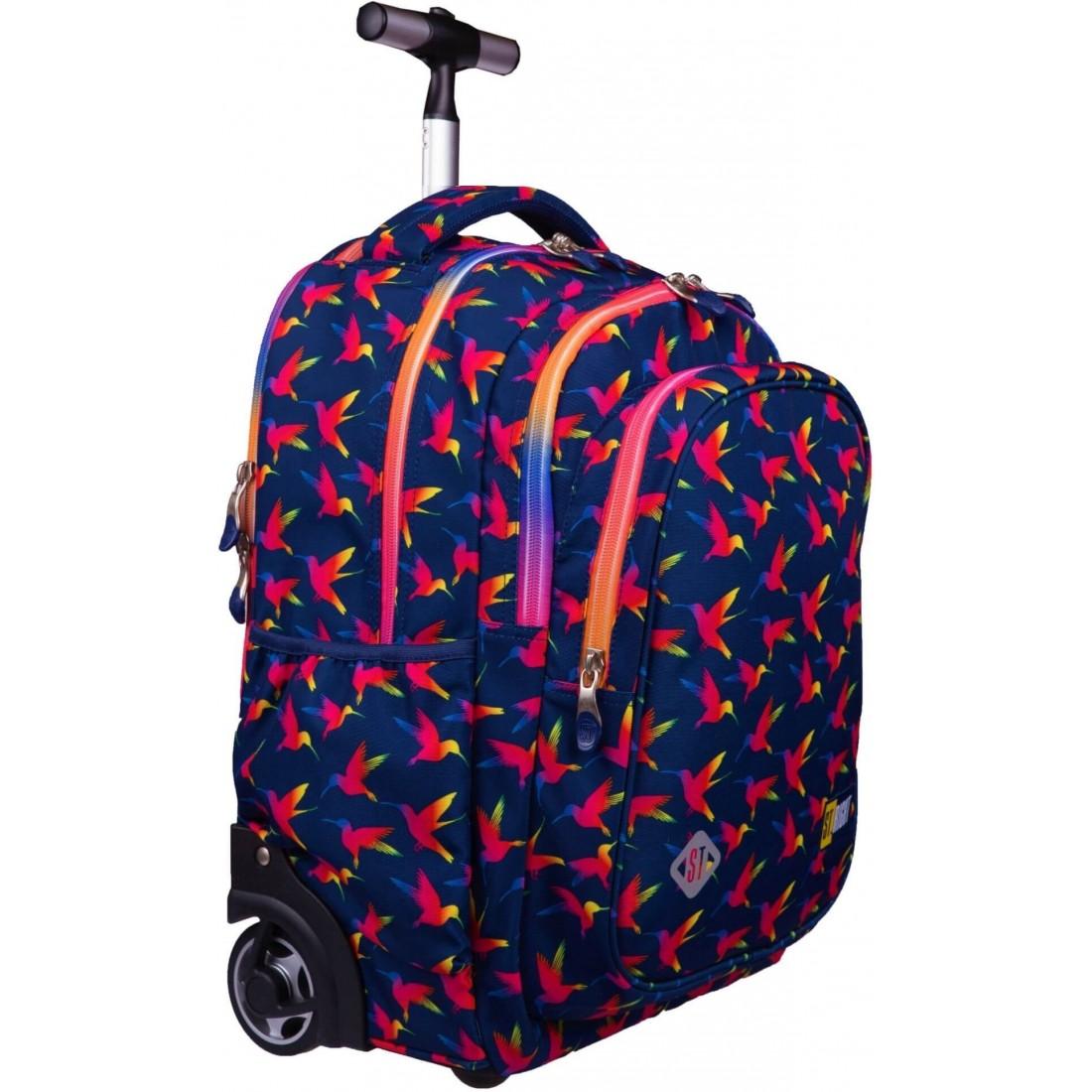 Kolorowy plecak młodzieżowy na kółkach ST.RIGHT Rainbow Birds tęczowe ptaki - plecak-tornister.pl