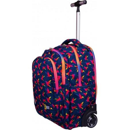 Wygodna, wysuwana rączka plecaka na kółkach, pozwoli bezpiecznie transportować wszystkie przedmioty szkolne