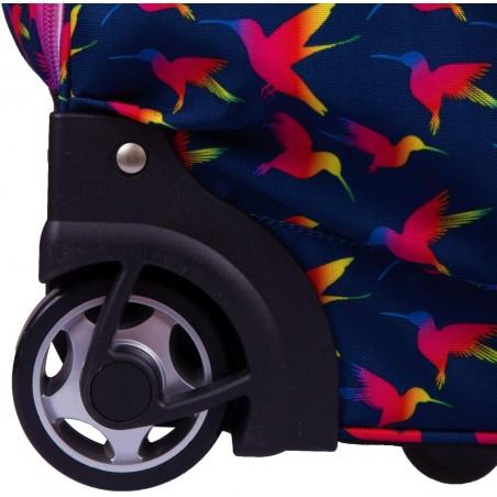 Nowoczesne kółka w plecaku dla nastolatek Rainbow Birds sprawią, że z lekkością przewieziesz wszystkie szkolne przybory