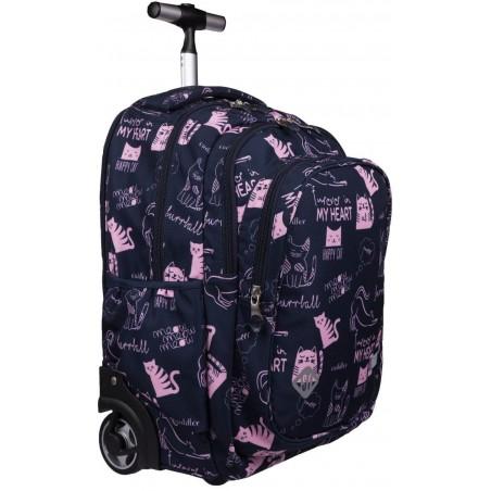Plecak na kółkach dla dziewczynki ST.RIGHT CATS St.Majewski granatowy róż TB01